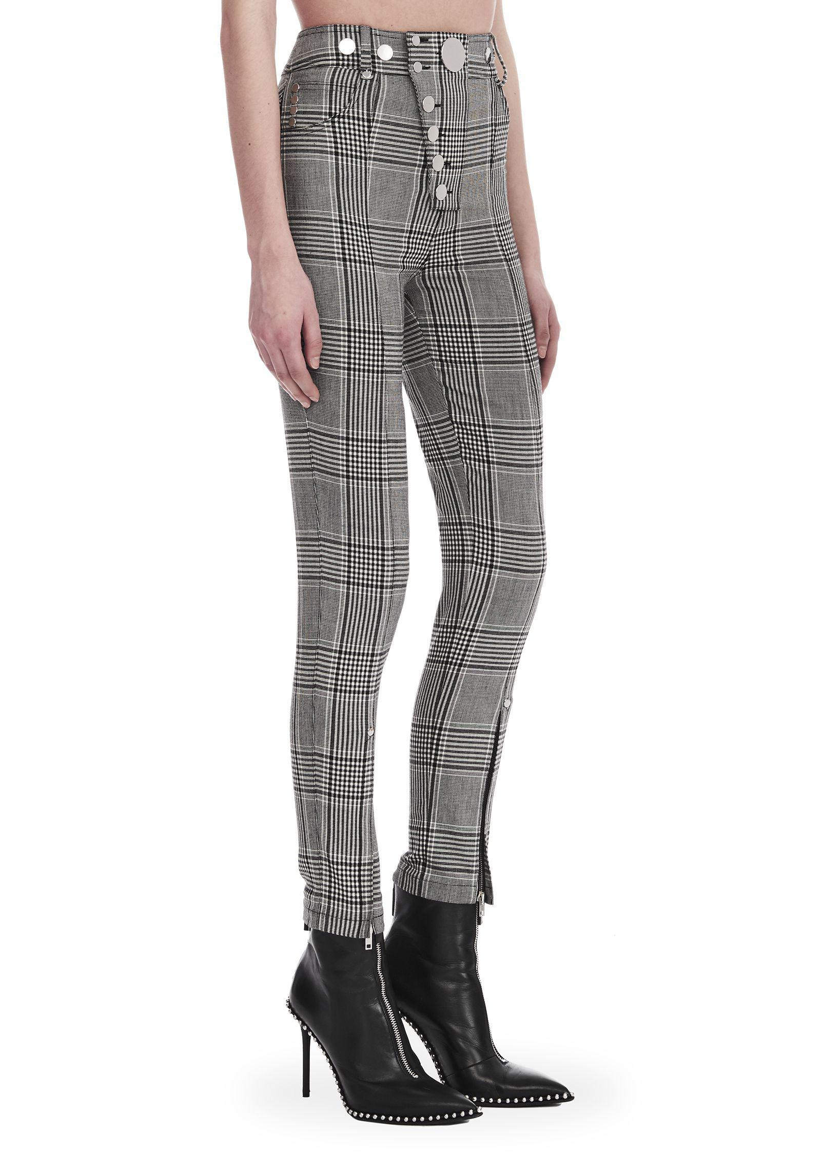 88a4307d84 Alexander Wang Check Tailoring High Waisted Legging in Gray - Lyst