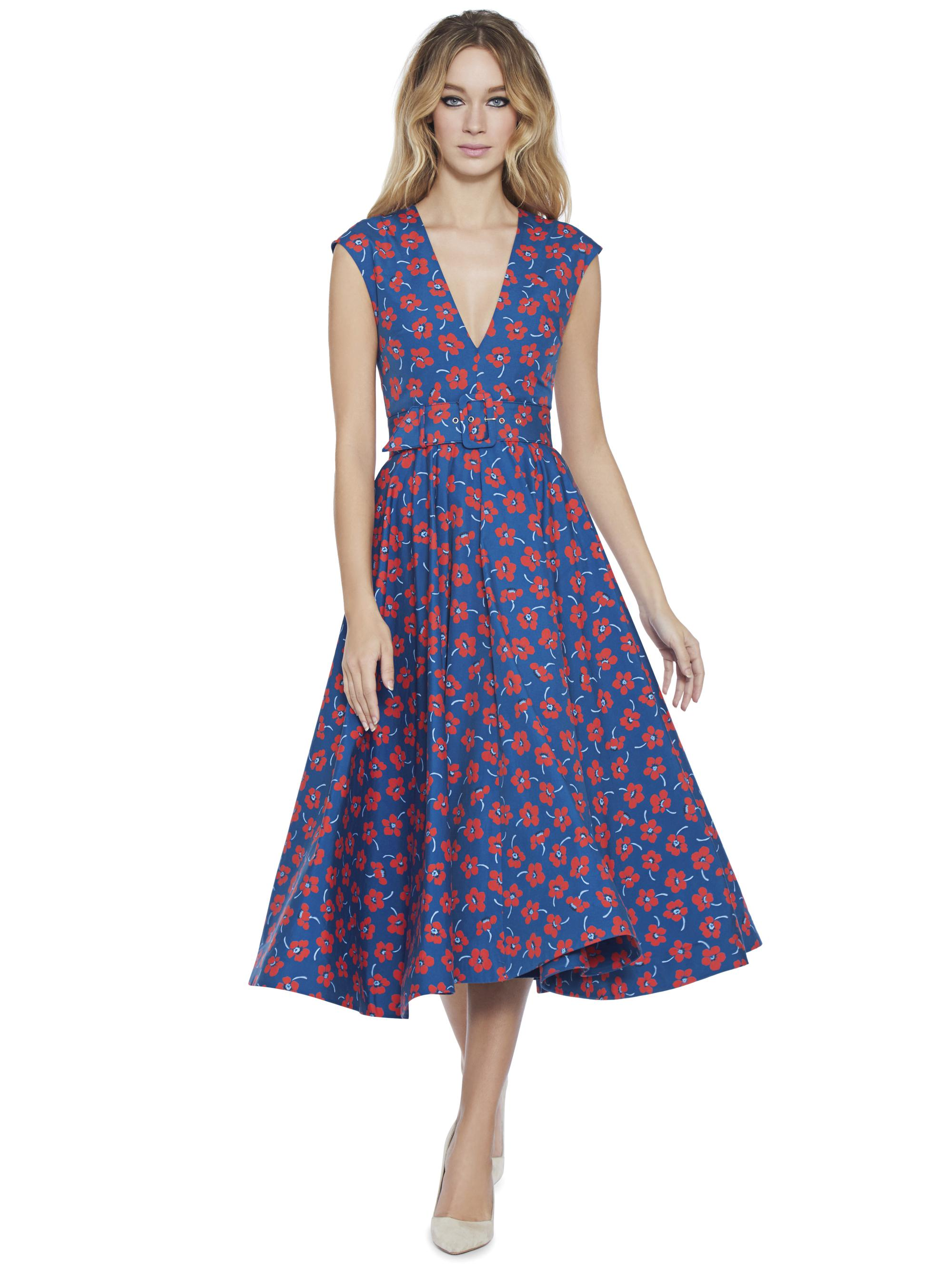 9ff43f17a9fc Alice + Olivia Dot Drop Shoulder Midi Flare Dress in Blue - Lyst