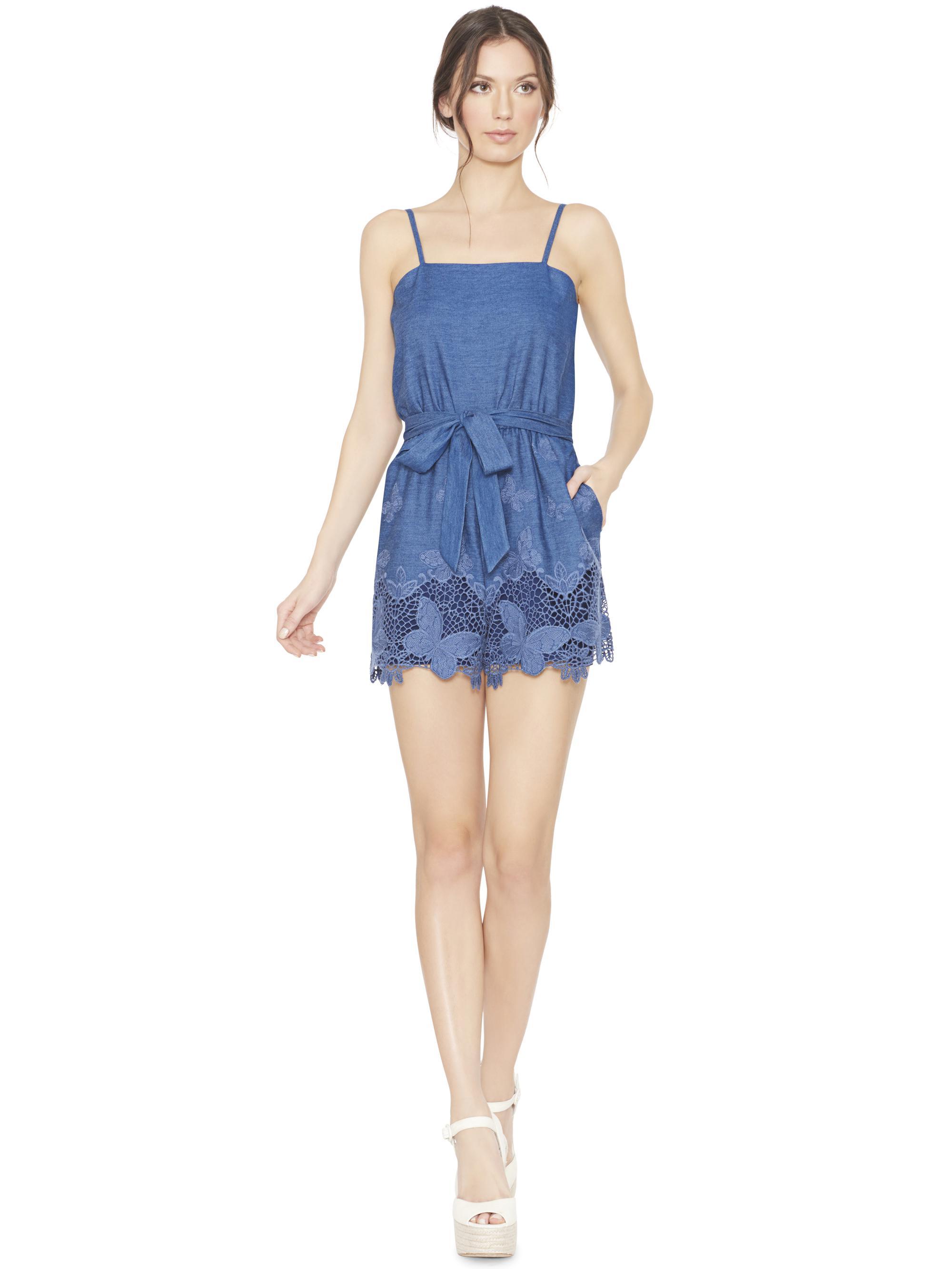 47dfbb22cb1a Lyst - Alice + Olivia Rosetta Romper With Tie Belt in Blue