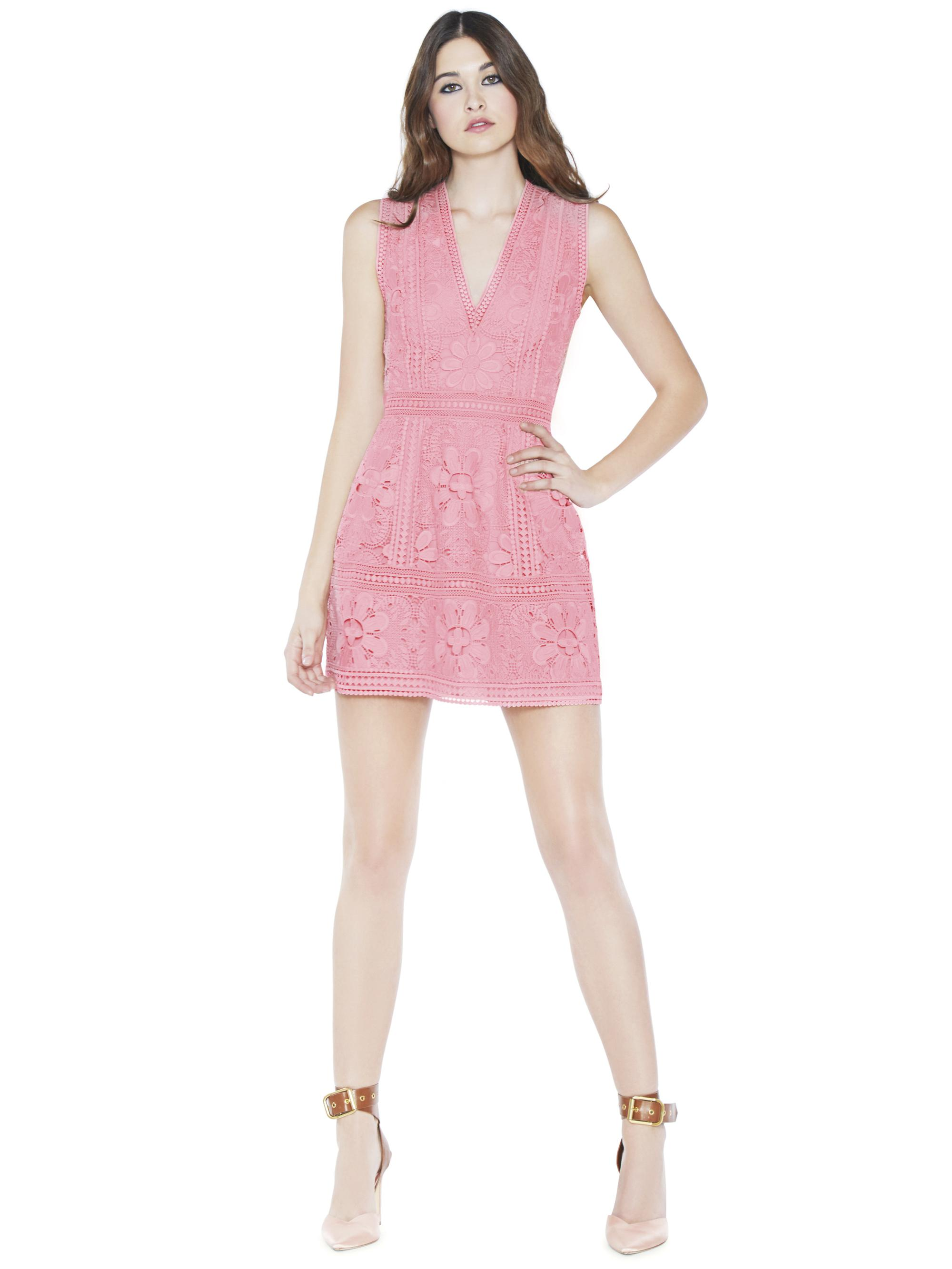 Alice + Olivia Zula Lace Party Dress in Pink