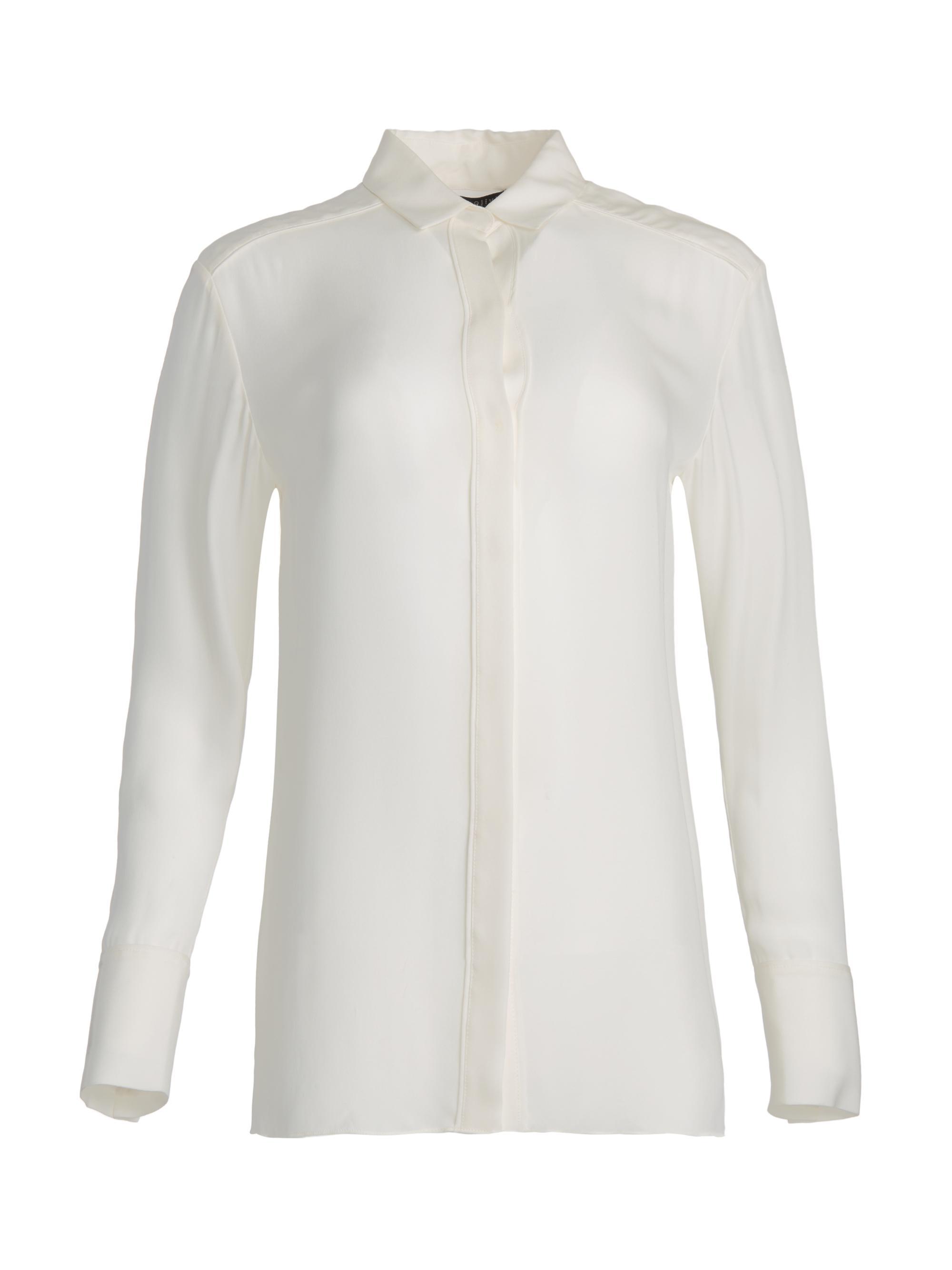 c66a93c13b0fb Lyst - Alice + Olivia Willa Small Collar Placket Top in White
