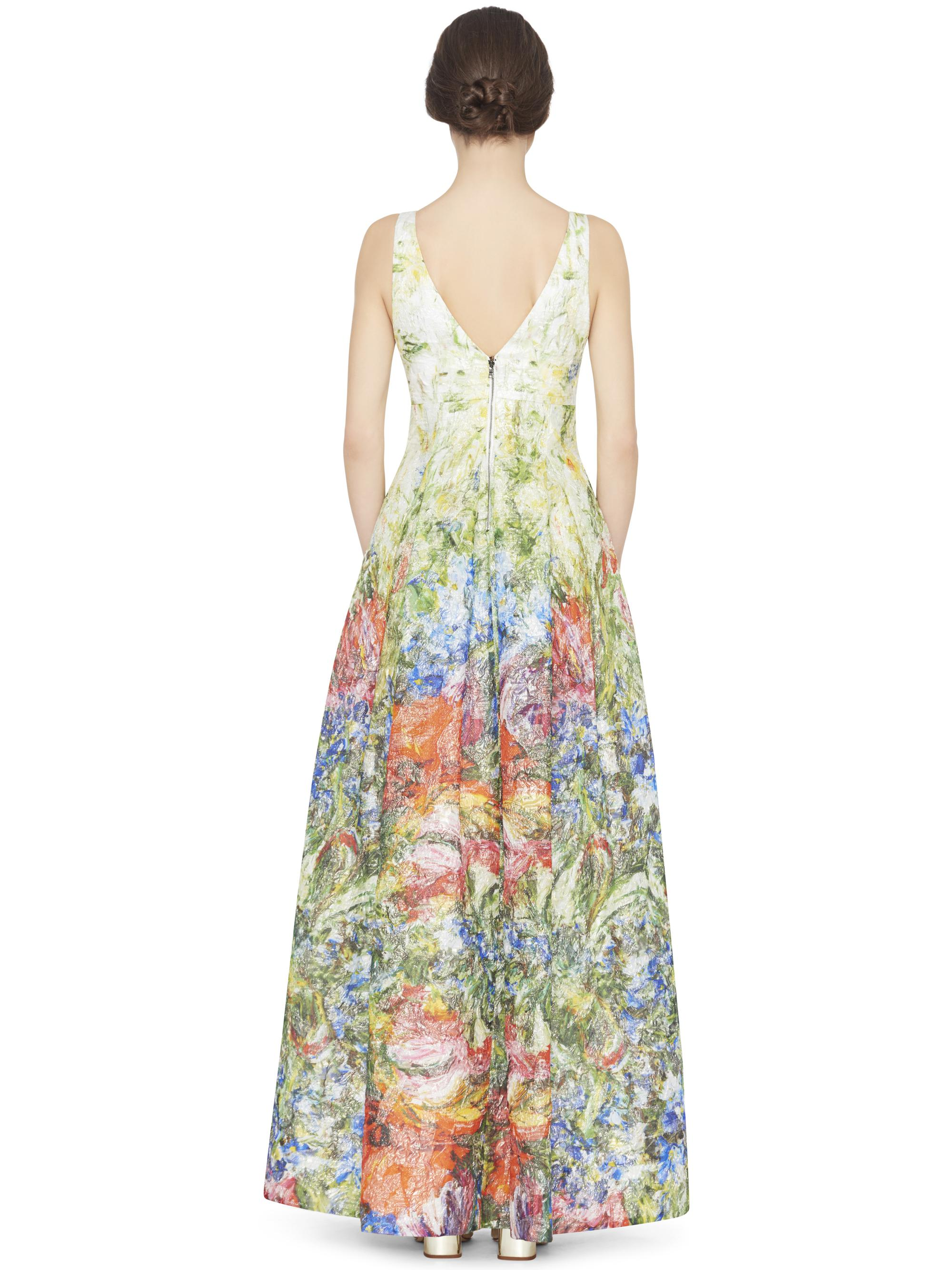 Lyst - Alice + Olivia Chantal Plunging Vneck Flare Gown in Green