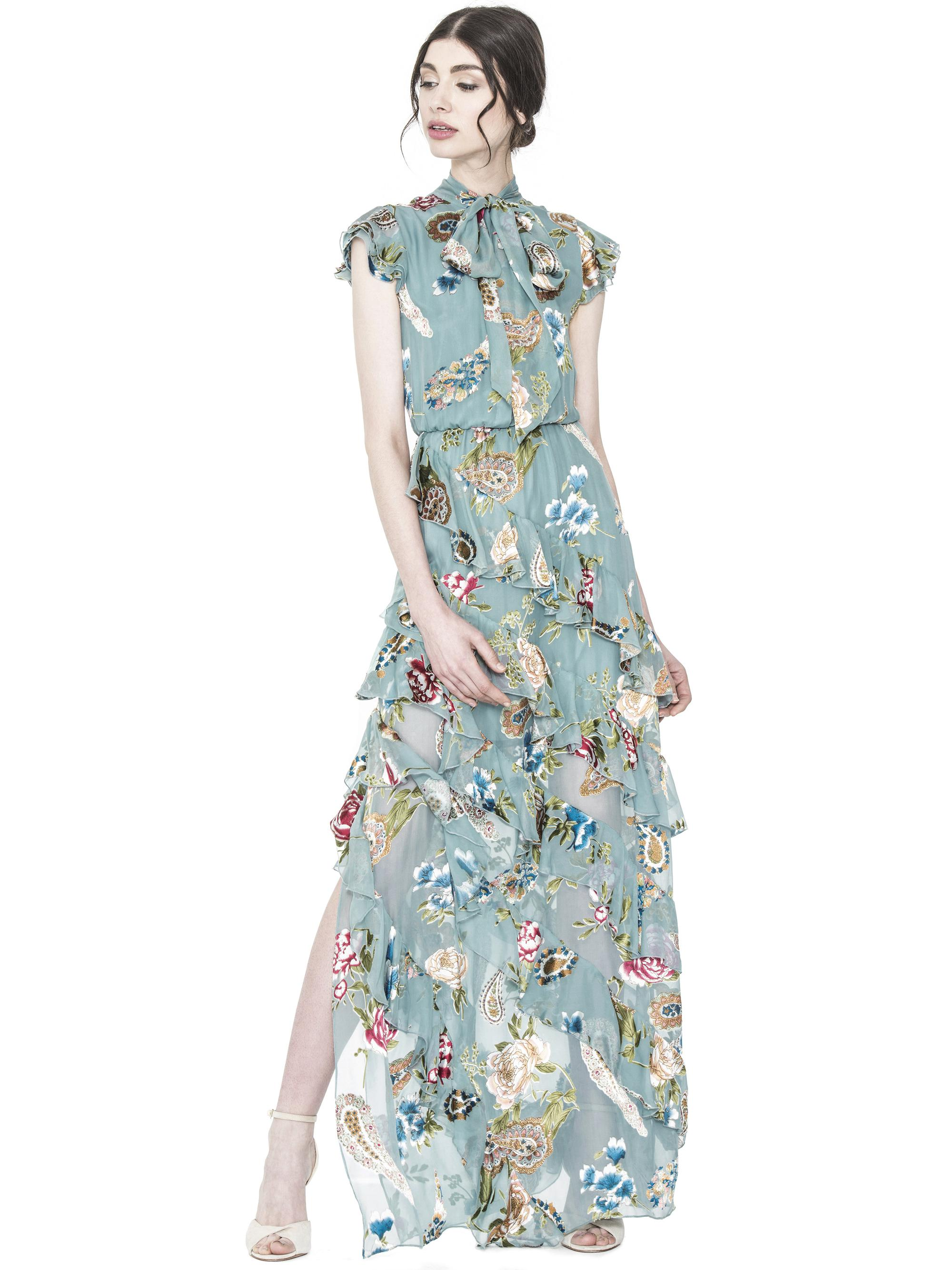 72fd61ed0ed Lyst - Alice + Olivia Lessie Tie Neck Ss Ruffle Dress in Blue