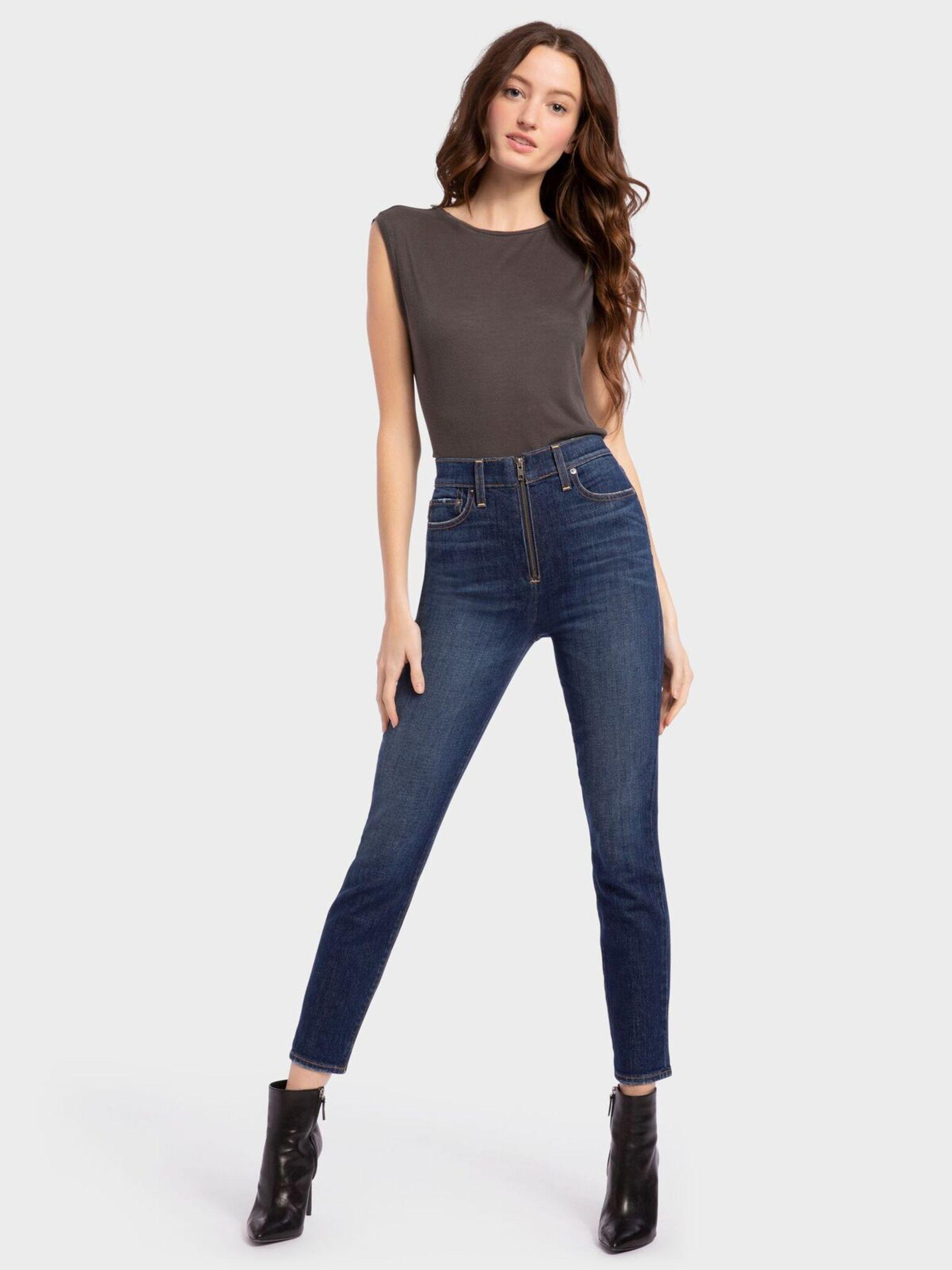 0a3e03a222 Lyst - Alice + Olivia Good High Rise Ankle Skinny Jean in Blue