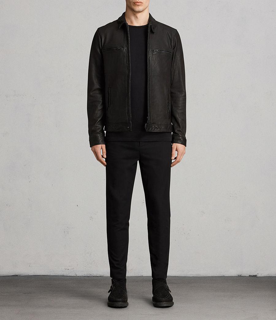 6410c7f67e0e AllSaints Lark Leather Jacket in Black for Men - Lyst