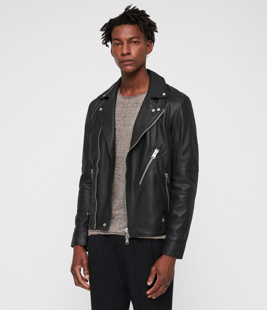 95391549e9a2e AllSaints Naoki Leather Biker Jacket in Black for Men - Lyst
