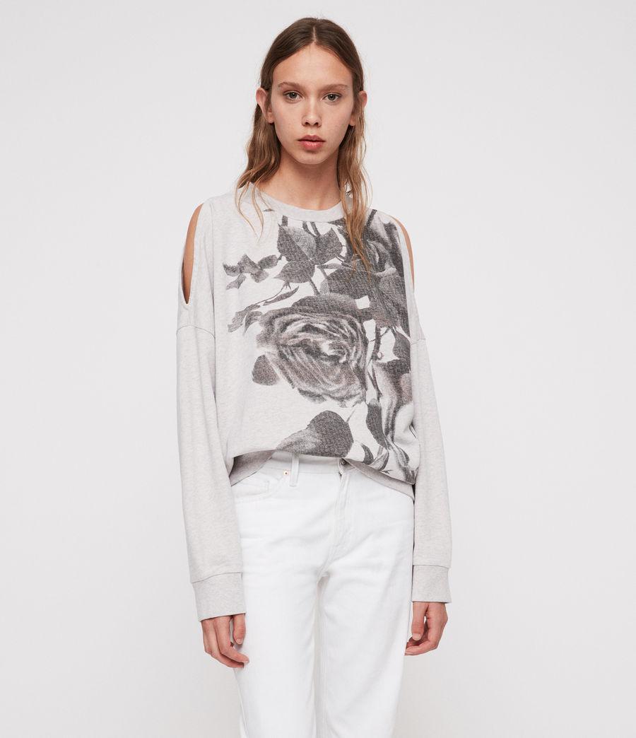 a4d1a8c6e33e96 Lyst - AllSaints Rosen Unai Cold-shoulder Sweatshirt in Gray