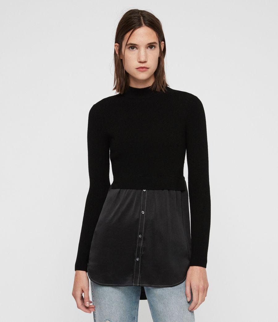 436a3de4c1 Allsaints Kowlo Shirt Sweater in Black - Lyst