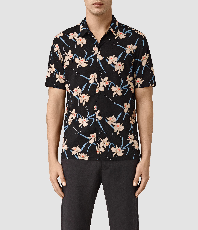 Allsaints aaru short sleeve shirt in floral for men black for Mens short sleeve floral shirt