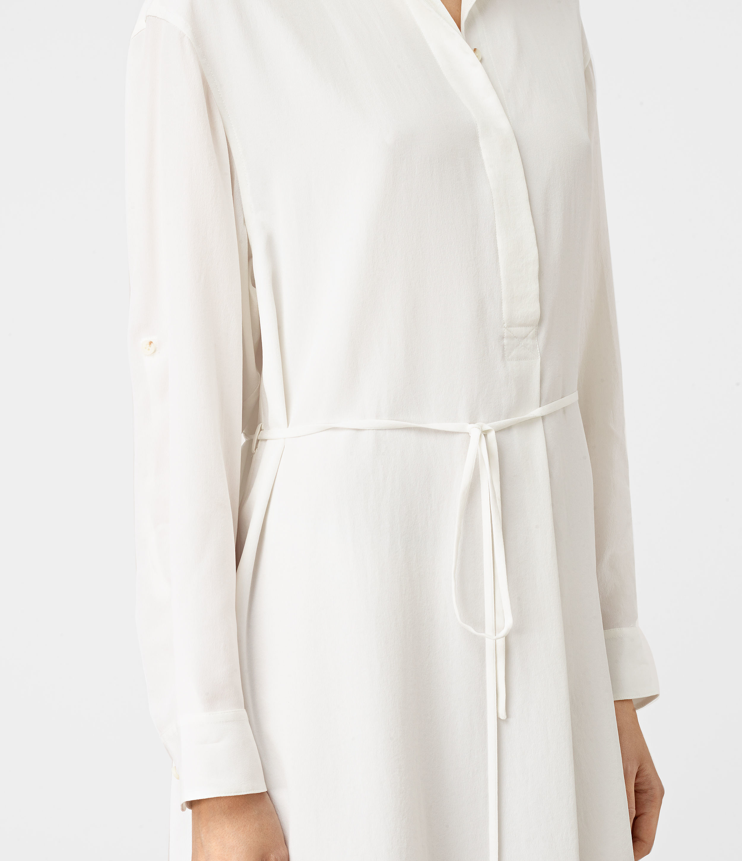 141b988f379 AllSaints Alex Silk Shirt Dress in White - Lyst