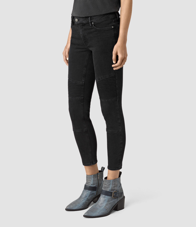 AllSaints Biker Cropped Jeans in Black - Lyst 87ae858c3
