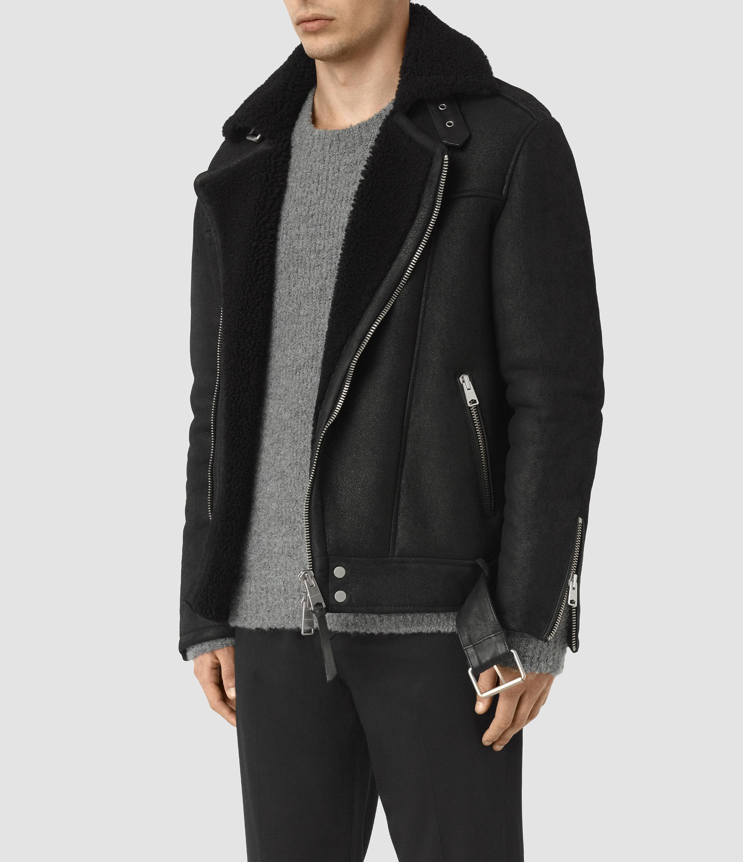 Allsaints Brennand Shearling Biker Jacket in Black for Men ...
