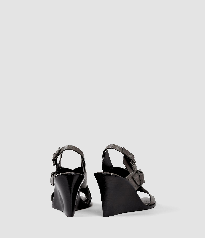 6410fb9c06b0 AllSaints Elin Wedge Sandal in Gray - Lyst