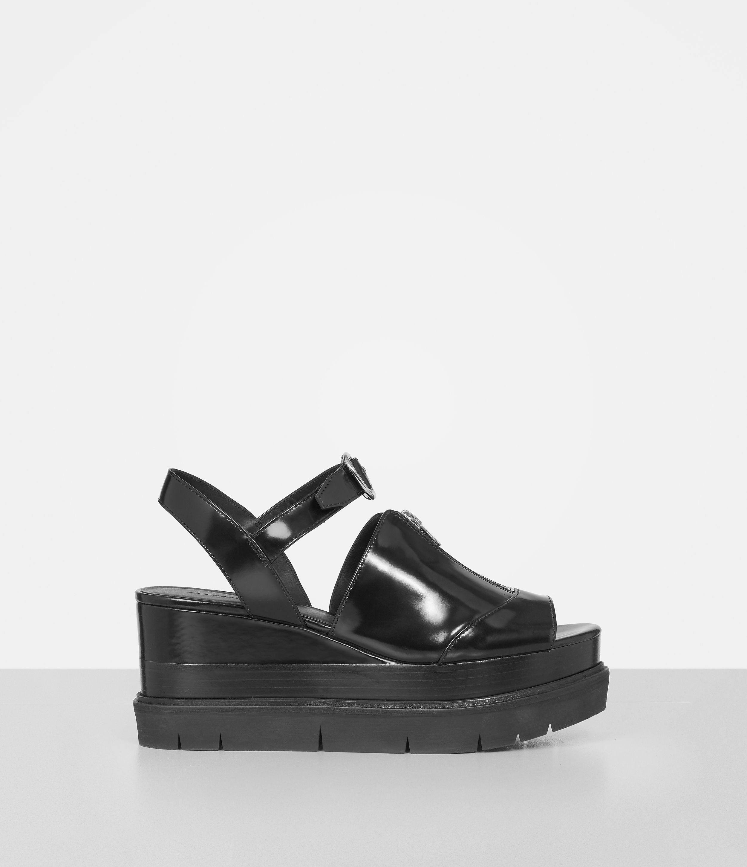 Allsaints gino platform wedge sandals in black lyst for All black piscine wedges