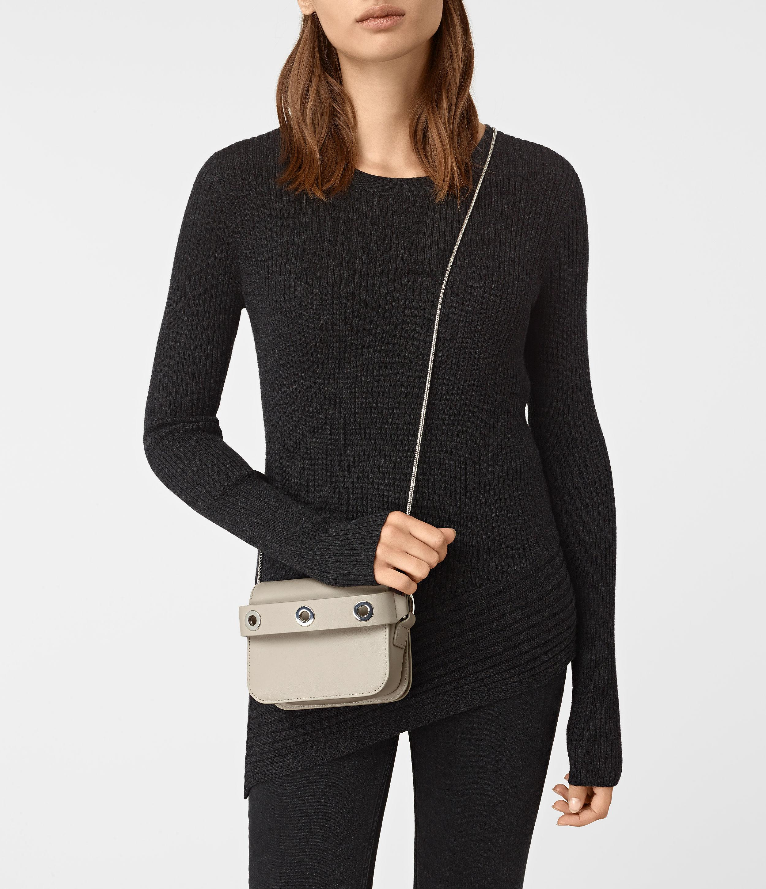 latest style drop shipping diversified latest designs AllSaints Leather Ikuya Small Clutch Usa Usa in Stone White ...