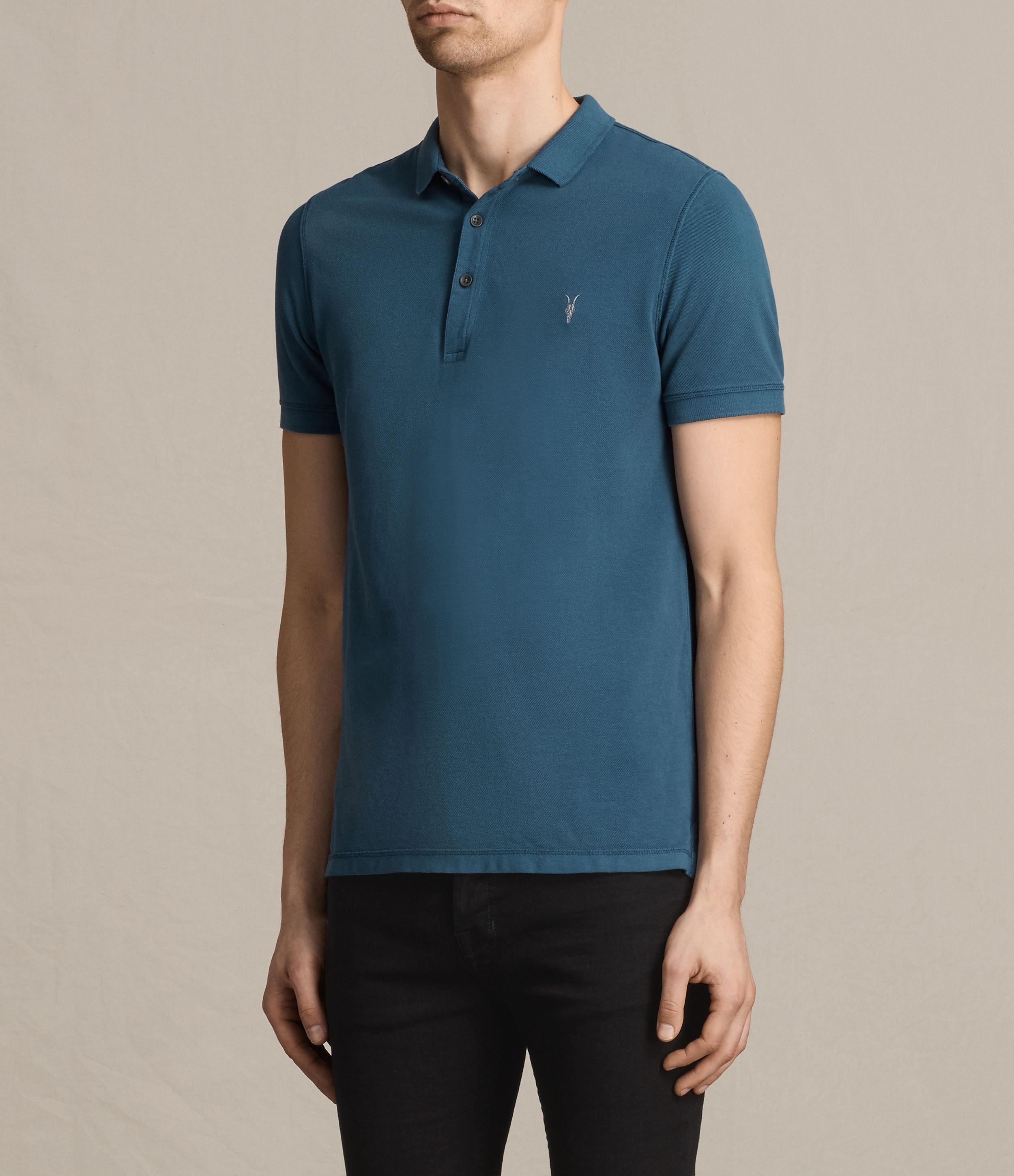 Lyst allsaints reform polo shirt in blue for men for All saints polo shirt