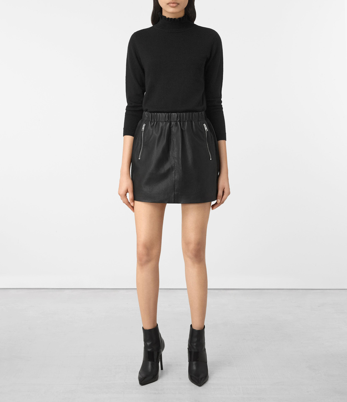 allsaints suko leather skirt in black lyst