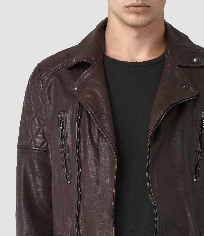 Allsaints Yuku Leather Biker Jacket In Blue For Men Lyst