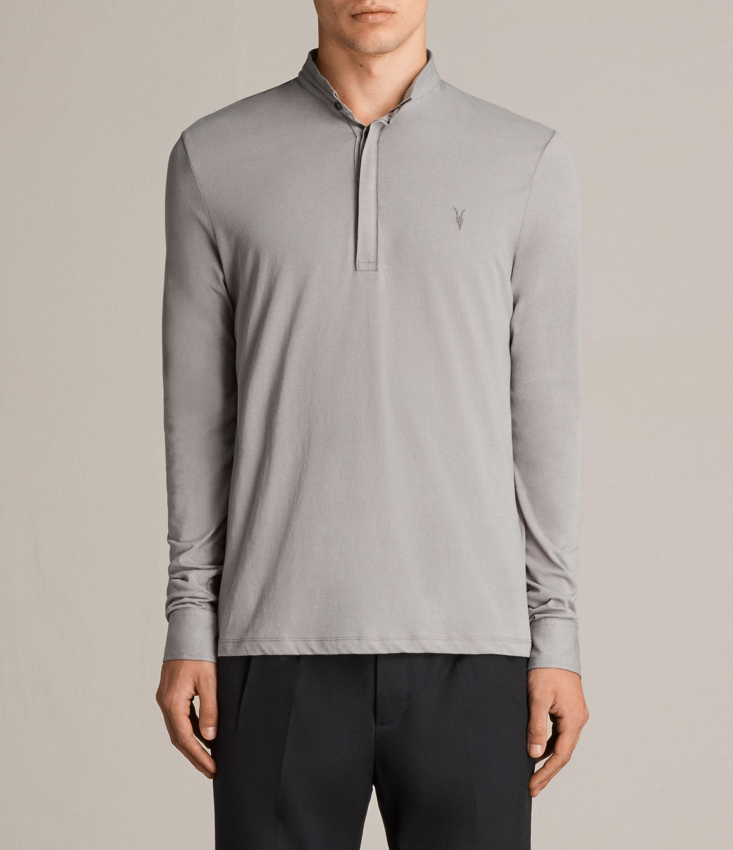 Allsaints Grail Long Sleeve Polo Shirt In Grey For Men Lyst