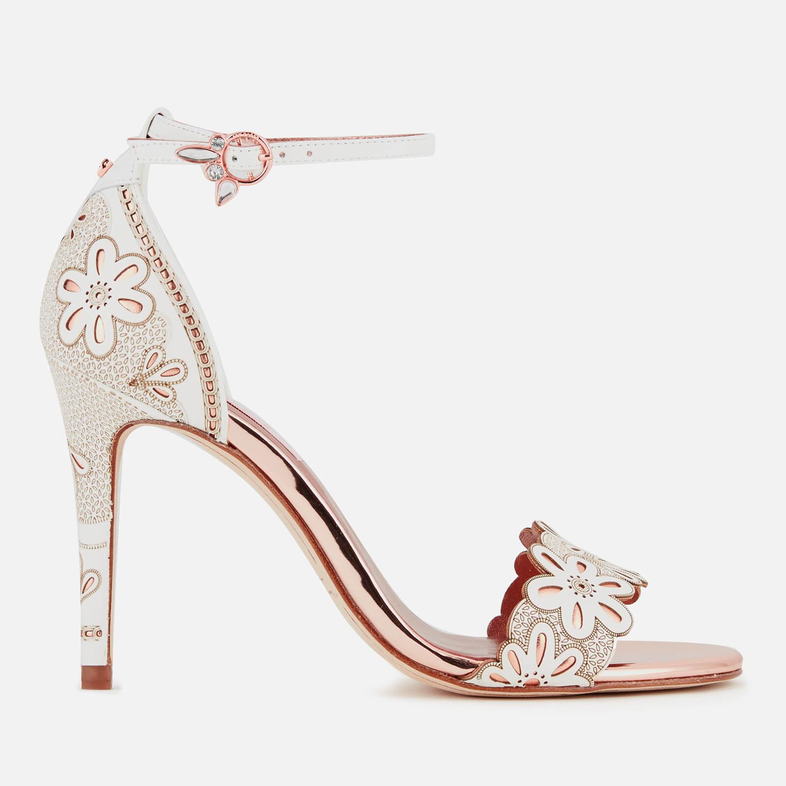 19ca8f1781e69 Ted Baker Cimaa Leather Barely There Heeled Sandals in White - Lyst