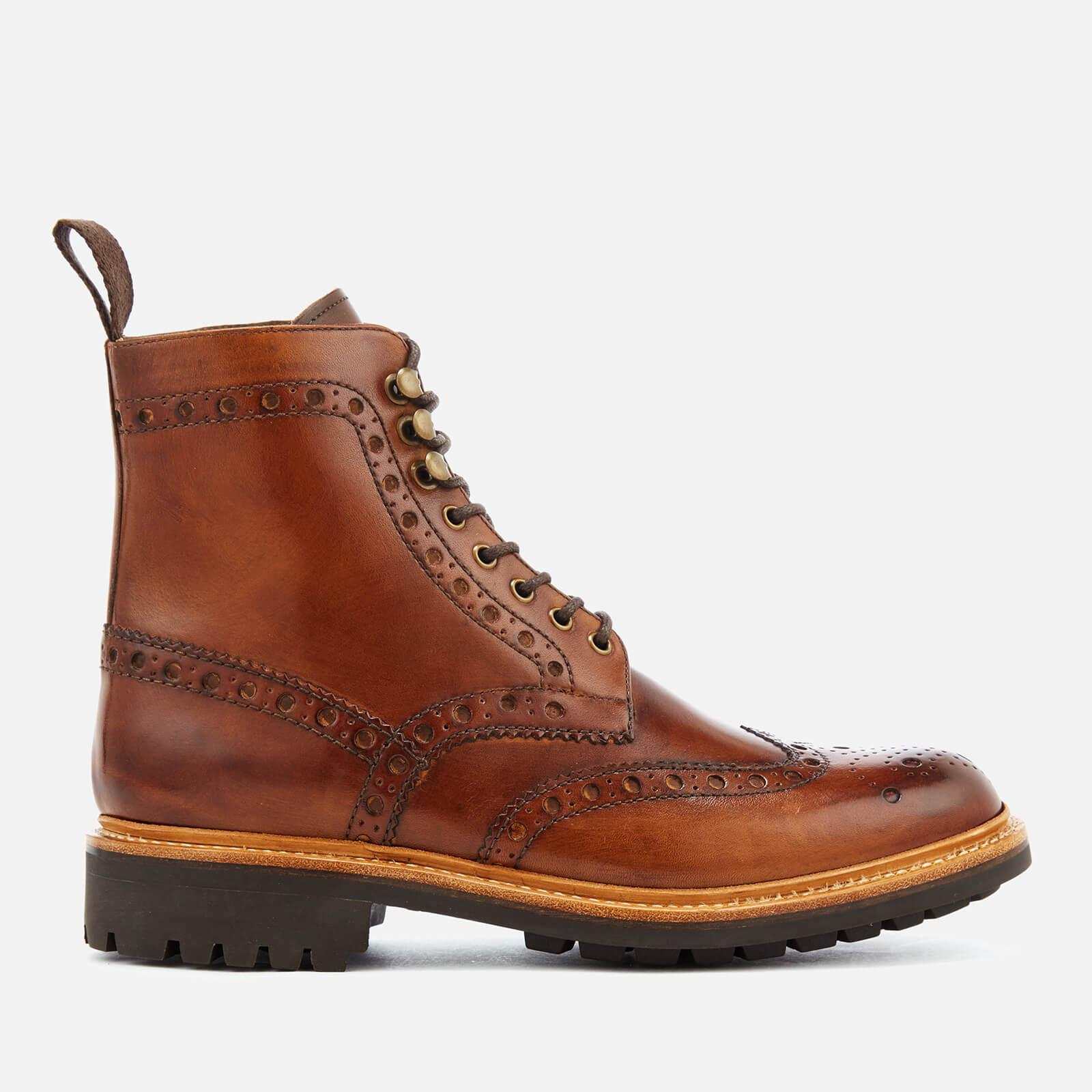 GRENSON Men's Fred Hand Painted Leather Commando Sole Lace Up Boots - - UK 7 R0XaBg