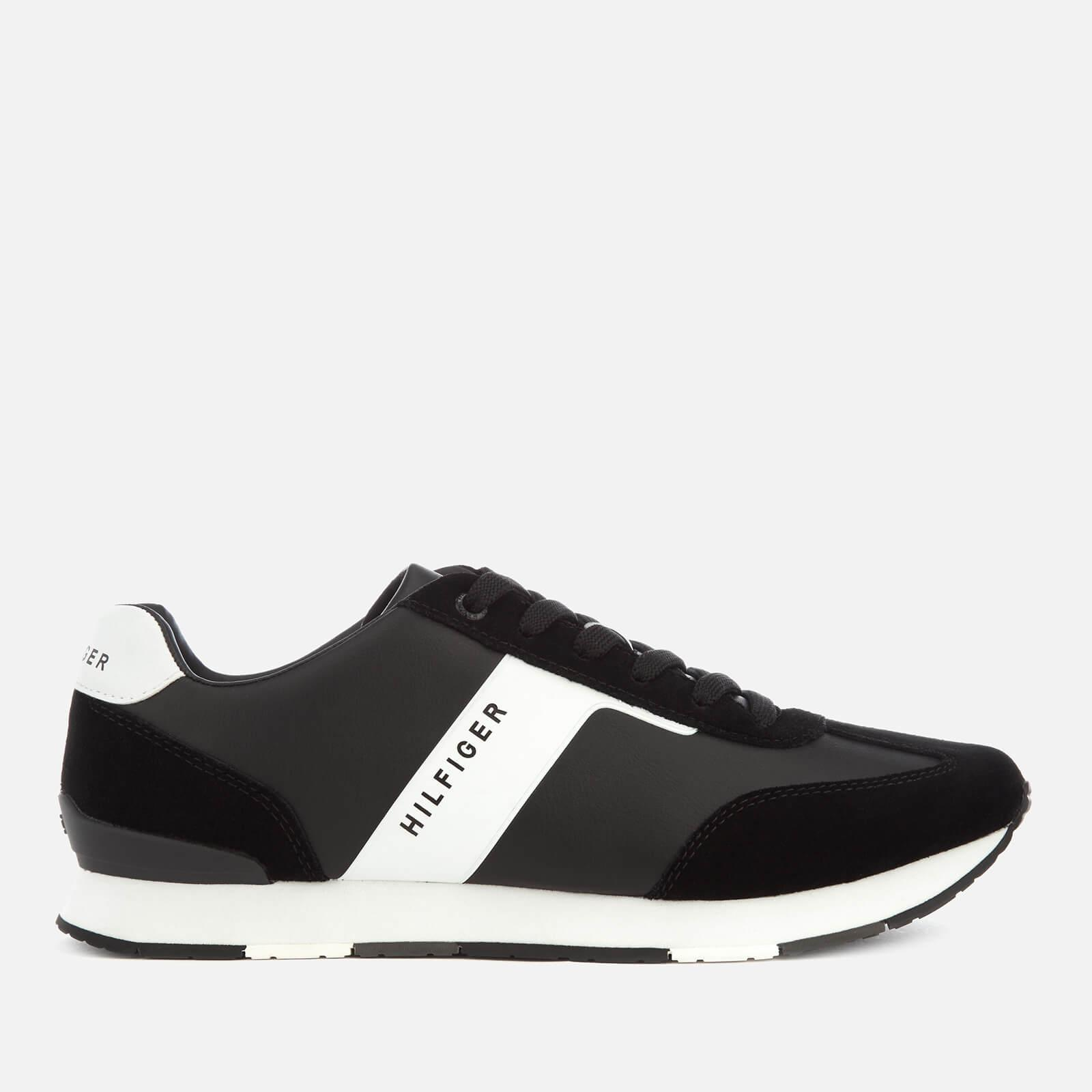 4bb45b3d Tommy Hilfiger Leather Material Mix Runner Trainers in Black for Men ...