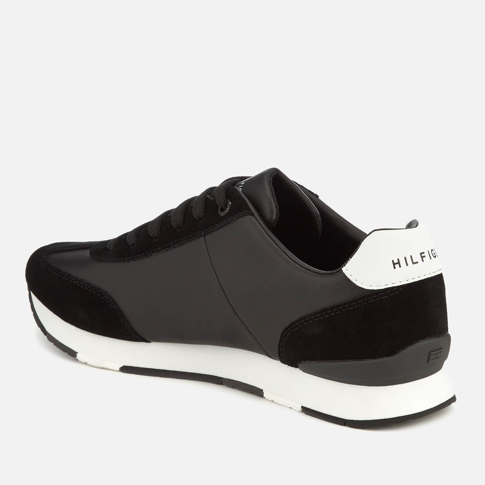 2e7eb3db Tommy Hilfiger - Black Leather Material Mix Runner Trainers for Men - Lyst.  View fullscreen
