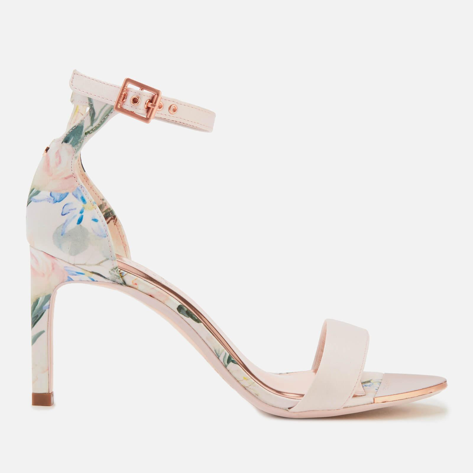9dc203475 Lyst - Ted Baker Ulaniip Satin Barely There Heeled Sandals in Pink