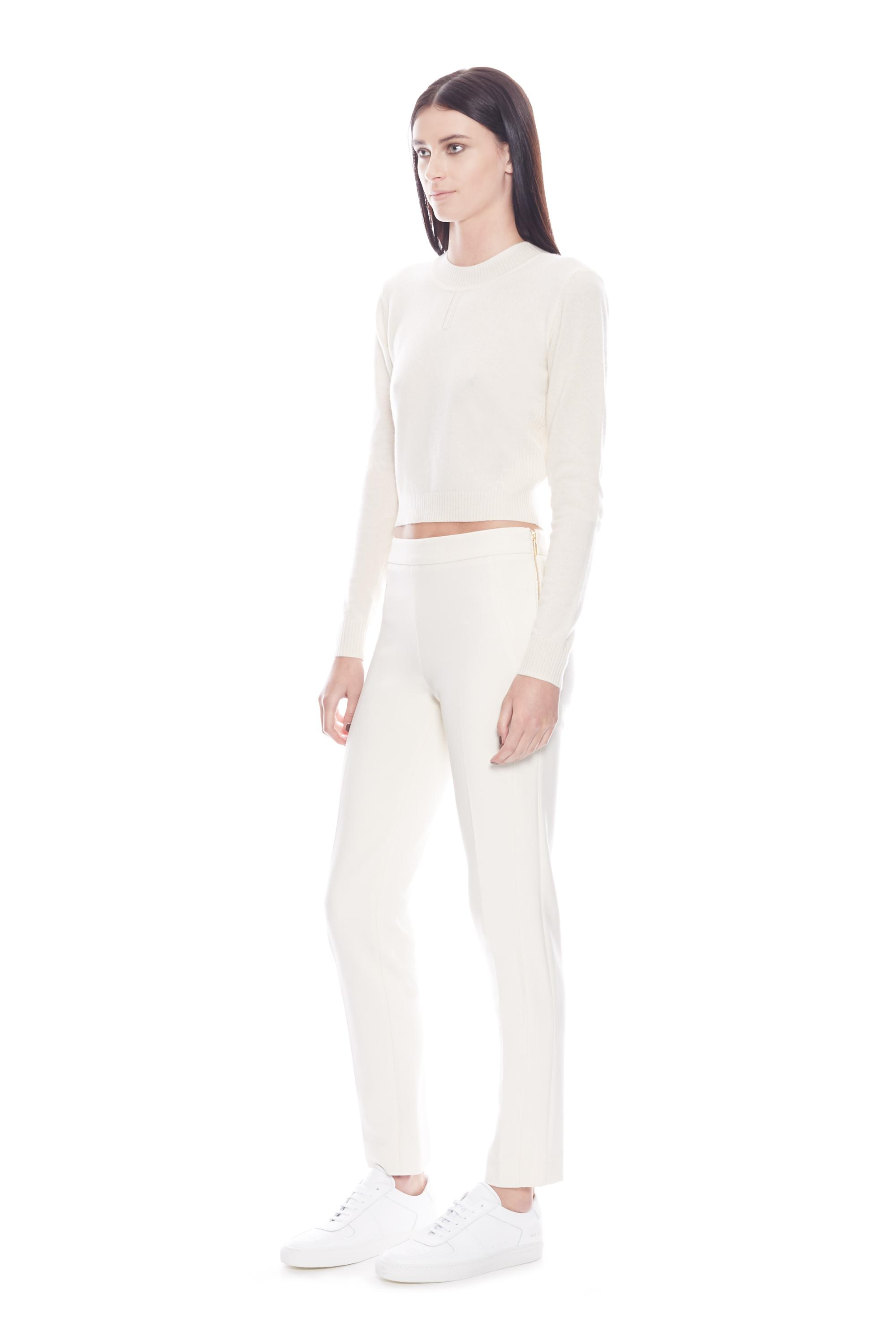 Amanda wakeley Campbell Cream Cropped Cashmere Sweater in Natural ...