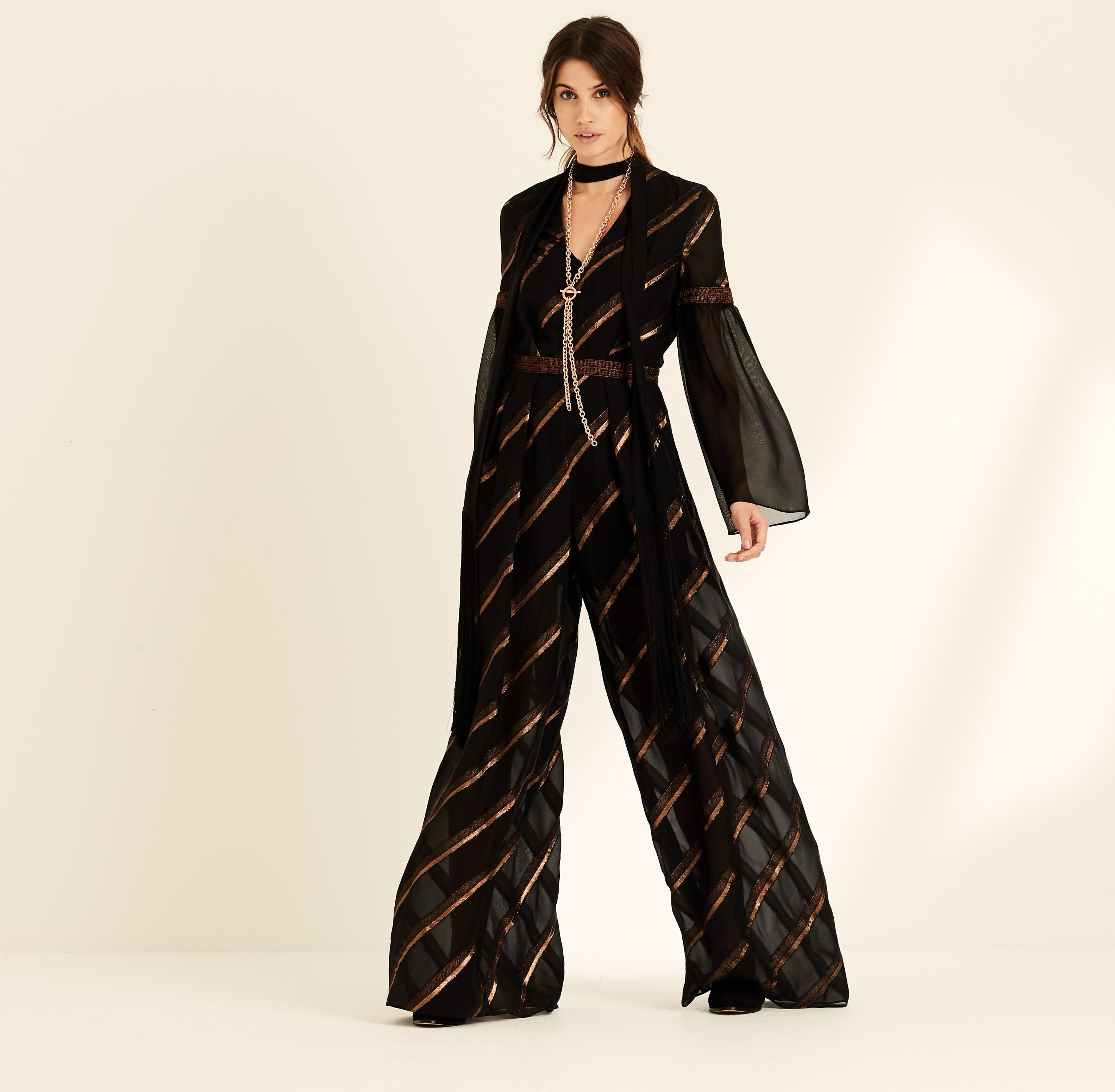 ac2f7dc2d9de Amanda Wakeley Black Metallic Chiffon Stripe Jumpsuit in Black ...