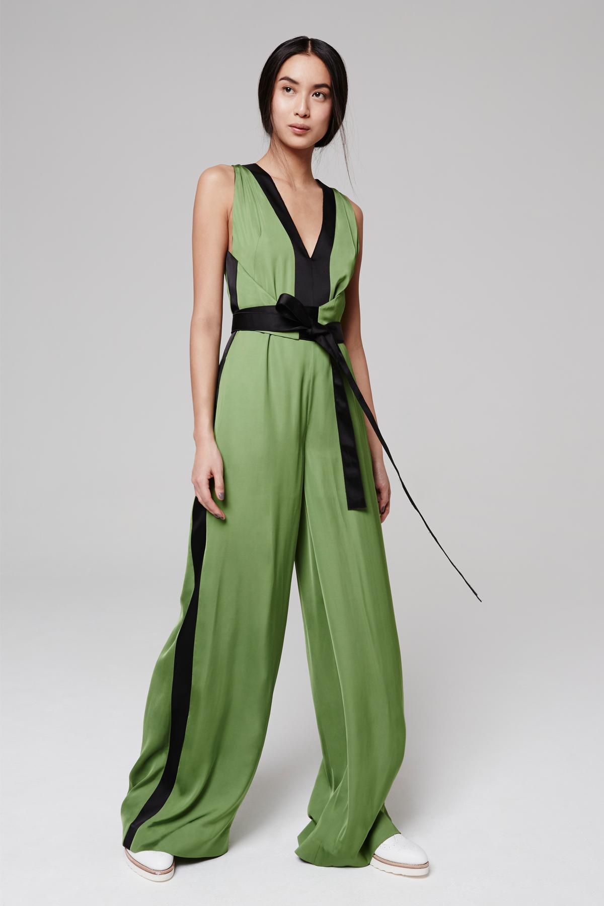 c8cb3eda8251 Amanda Wakeley Satin Bonsai Green   Black Jumpsuit in Green - Lyst