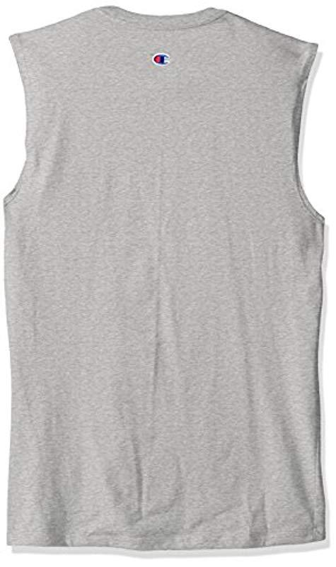 74719ddfd15f Champion - Gray Classic Jersey Muscle T-shirt for Men - Lyst. View  fullscreen