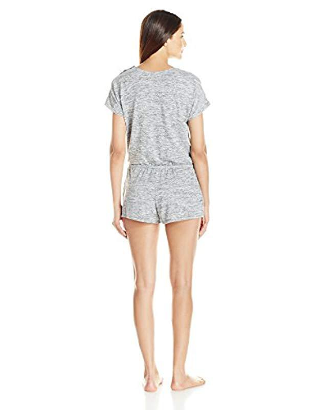 a81251e89fc8 Lyst - Kensie Short Sleeve Romper in Gray - Save 17%