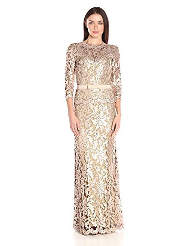 fb93e162f2 Lyst - Tadashi Shoji Sequin Embroidered Gown With 3 4 Sleeve And ...