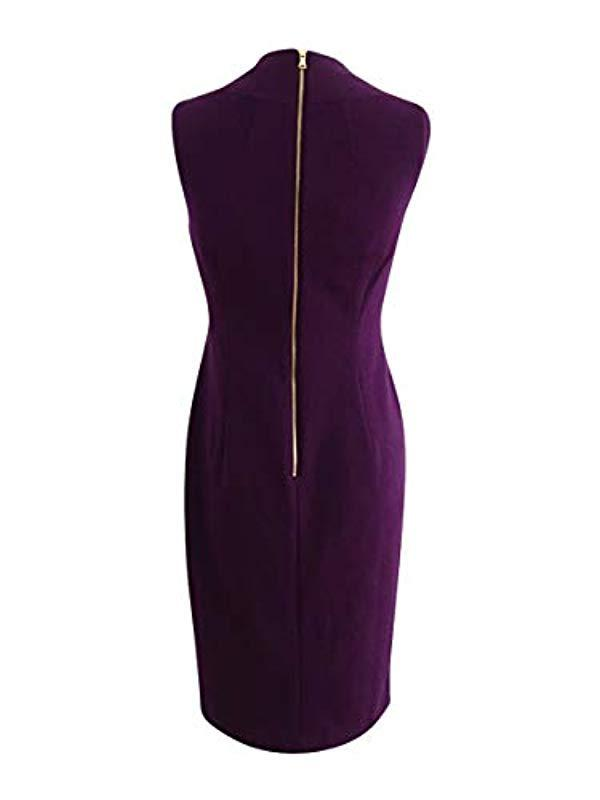 b6fe2290089 Calvin Klein - Purple Sleeveless Square Neck Sheath Dress With Pleating At  Neckline - Lyst. View fullscreen