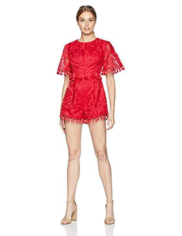 4044ee17628 Finders Keepers. Women s Red Spectrum Short Sleeve Tassel Detail Playsuit  With Open Back