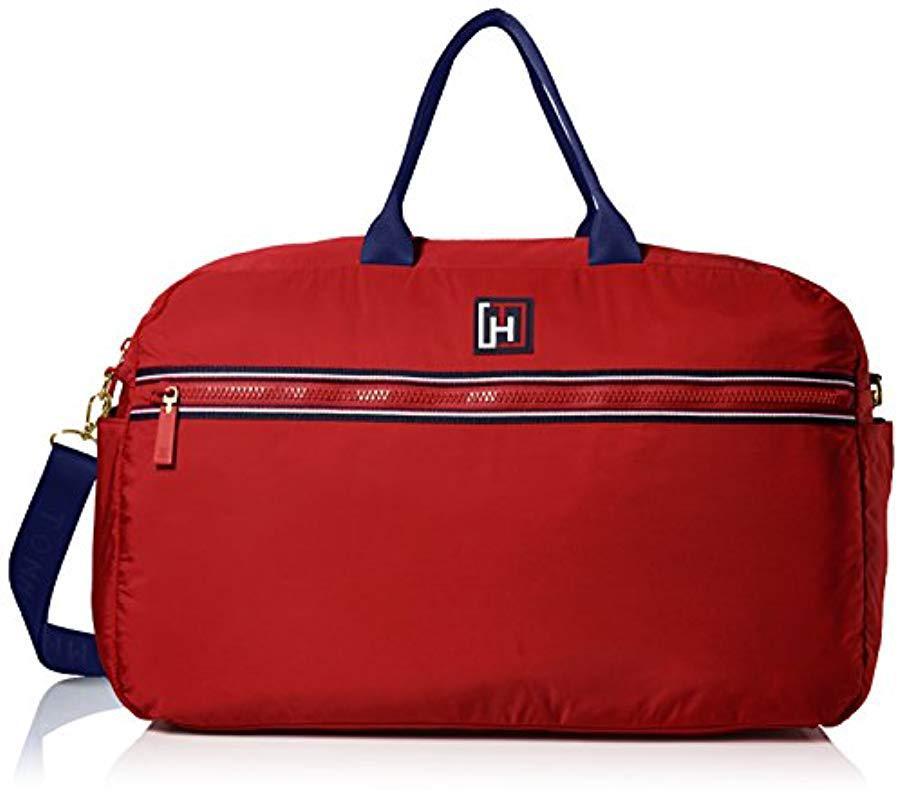 Lyst - Tommy Hilfiger Sport Nylon Weekender Bag in Red 276c5e571b