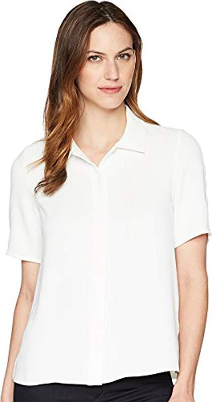 6d06316e Lacoste Short Sleeve Muslin Pleated Shirt, Cf3918 in White - Lyst