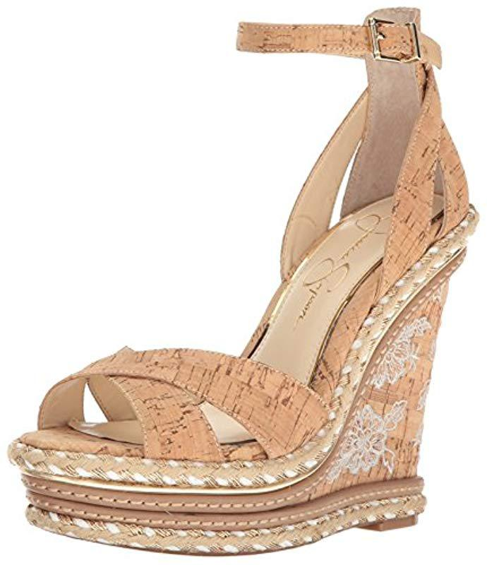 d0c1e0d0fbf2 Lyst - Jessica Simpson Ahnika Wedge Sandal in Natural - Save ...