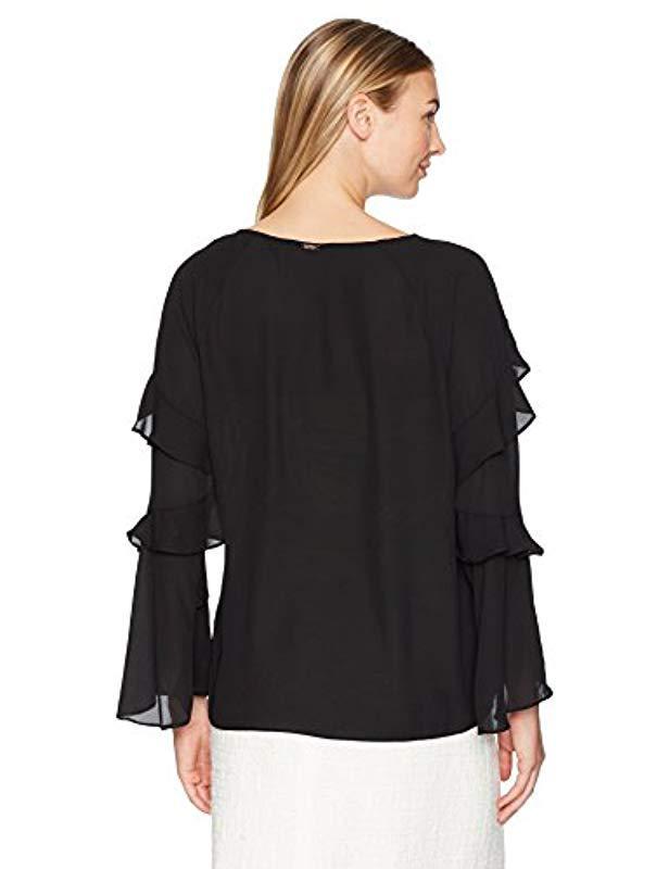 d3a64ca80e602 Lyst - Ivanka Trump Georgette Long Sleeve Ruffle Blouse in Black - Save 28%
