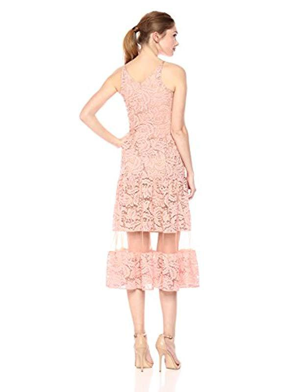 4ae6b040a1c9f Lyst - Dress the Population Summer Plunging Lace Illusion Fit   Flare Midi  Dress in Pink