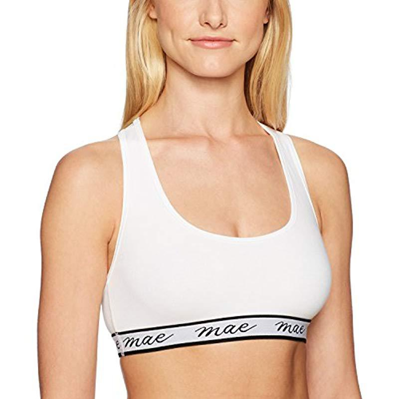 80f9025535 Mae - White Cotton With Mesh Racerback And Logo Elastic Bralette (for A-c  Cups). View fullscreen