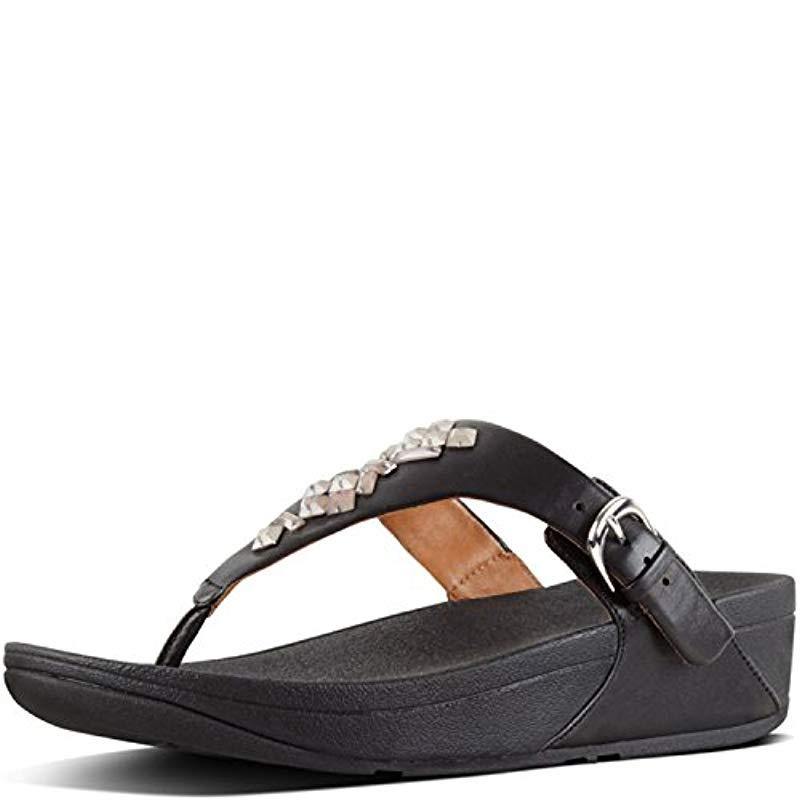 e91511832 Lyst - Fitflop The Skinny Toe-thong Sandals-crystal in Black - Save 44%
