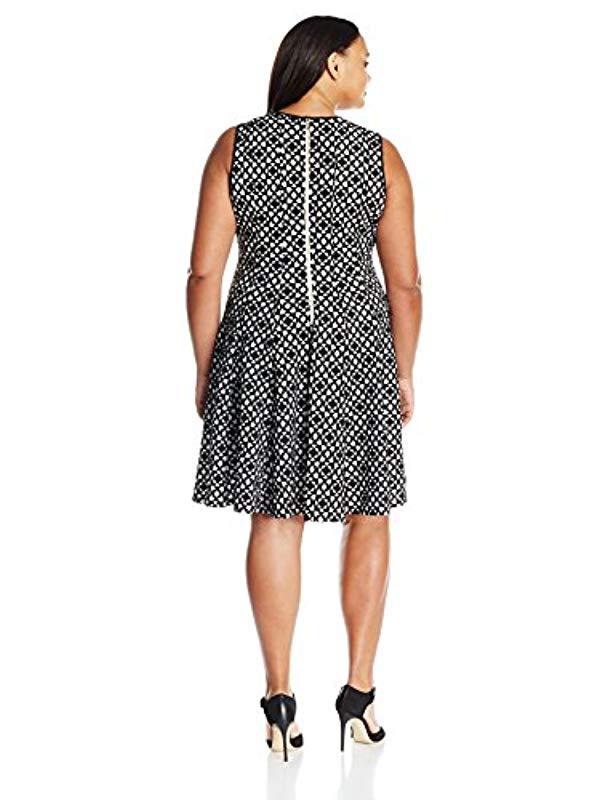 a878c03e4d7 Lyst - Calvin Klein Plus Size Laser Cut Flare Dress in Black