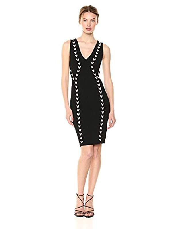 5736a3f852 Lyst - Guess Sleeveless Jana Contrast Lace Up Dress in Black - Save 47%