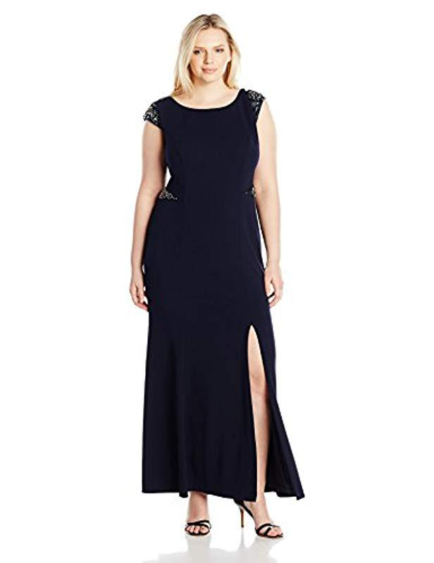 5a4a0ad6629a2 Adrianna Papell. Women s Blue Plus Size Cap Sleeve Knit Crepe Mermaid Gown