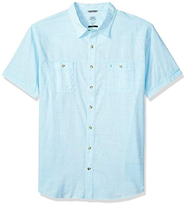 9db627ab Izod. Men's Blue Big And Tall Saltwater Chambray Solid Short Sleeve Shirt