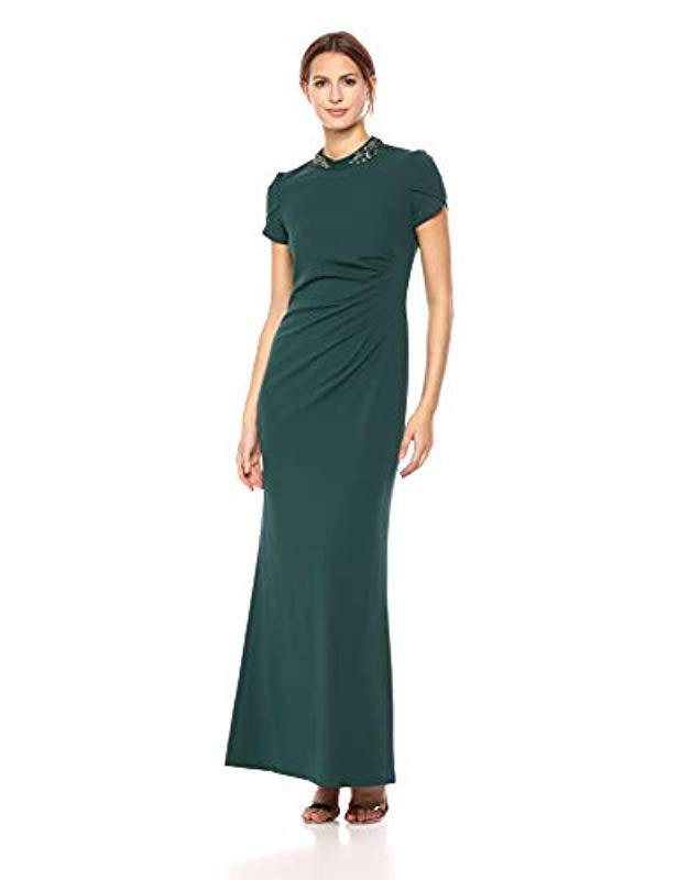 48f950ba8abad Lyst - Adrianna Papell Cap Sleeve Long Crepe Dress in Green