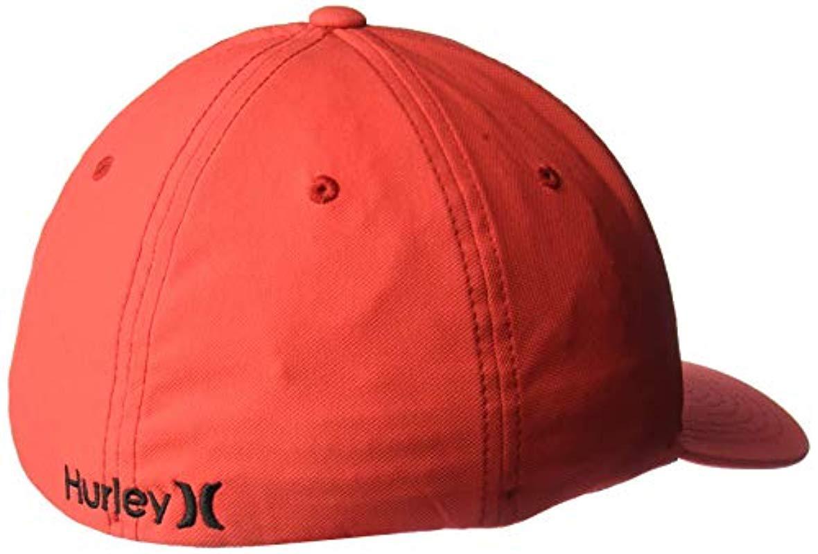 san francisco 56157 ec961 Hurley - Red Dri-fit One   Only Flexfit Baseball Cap for Men - Lyst. View  fullscreen