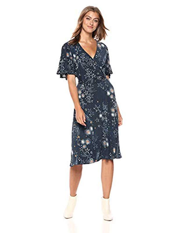 9478ef36b7 Lyst - Donna Morgan Plus Size Faux Wrap Fit And Flare Dress in Blue